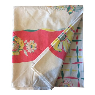 Vintage Pink & Yellow Floral Tablecloth
