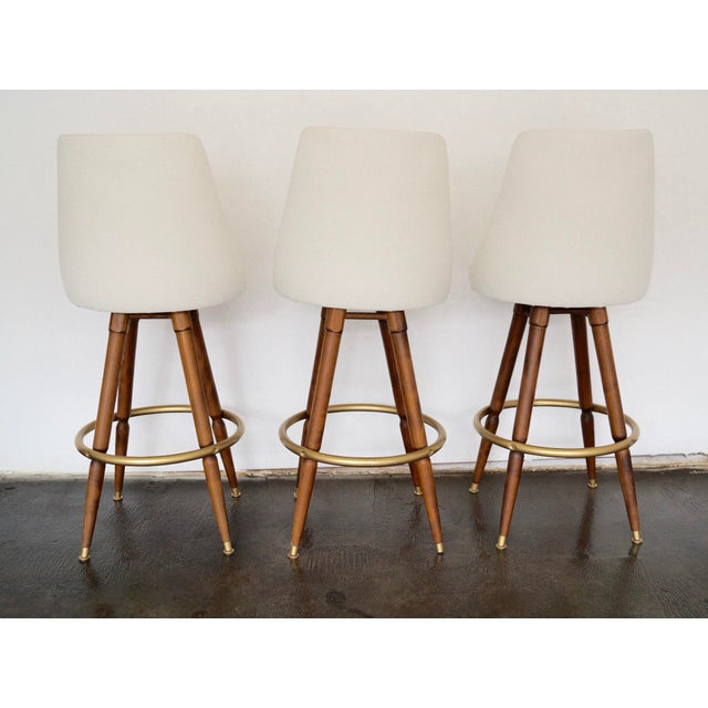 Mid-Century Hollywood Regency Bar Stools - Set of 3 - Image 6 of 11