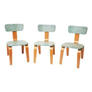 1950s Mid-Century Modern Bentwood Blue Children's Chairs - Set of 3