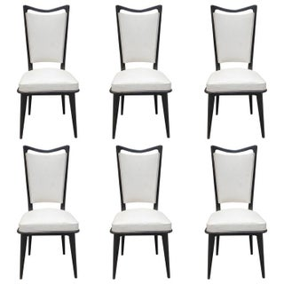 French Art Deco Ebonized Dining Chairs - Set of 6