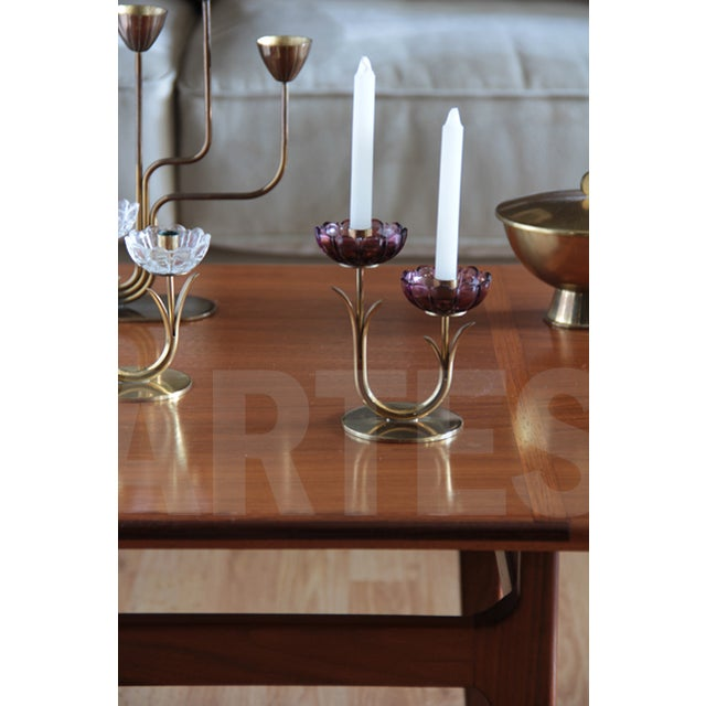 Image of Swedish Mid-Century Brass Candlestick