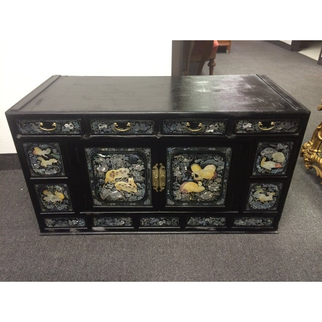 Asian Black Lacquer Mother of Pearl Inlay Chest - Image 6 of 7