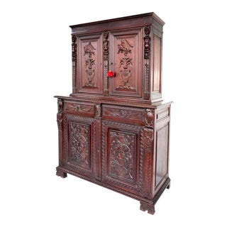 Custom Carved Mahogany Two-Piece Cabinet by S. Pagano, 1930