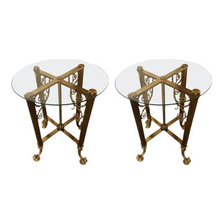 Glass Top Fine Bronze Based End Tables - A Pair