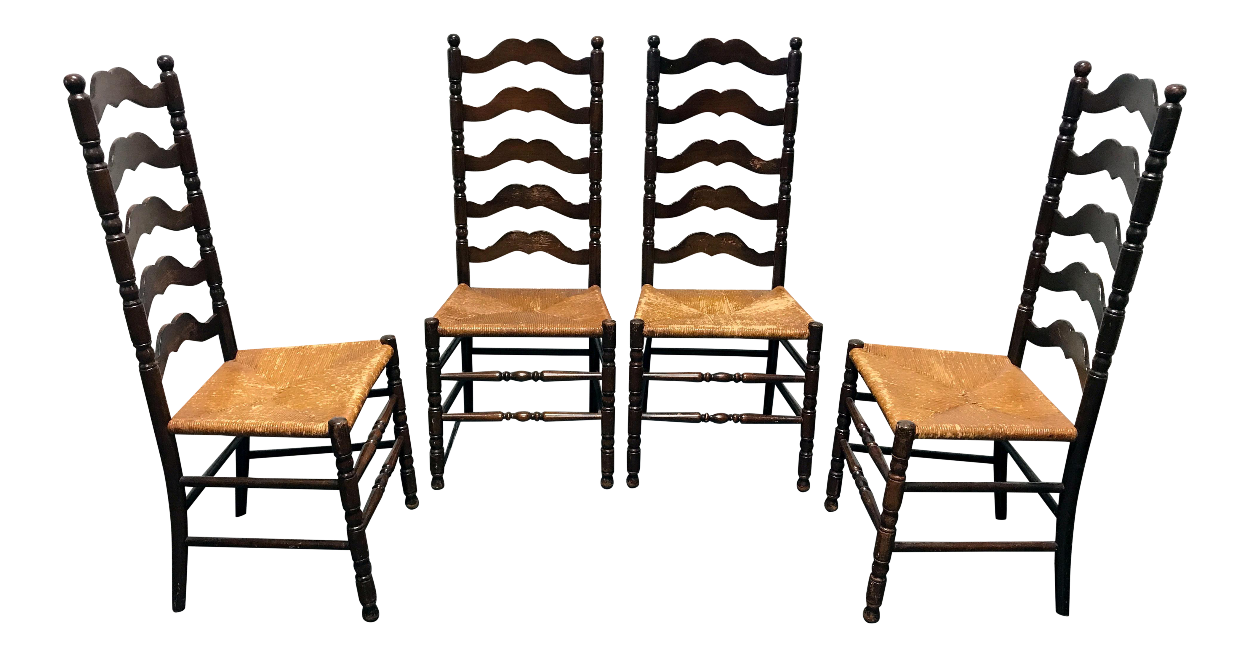 Tell City Vintage Ladder Back Dining Chairs   Set Of 4