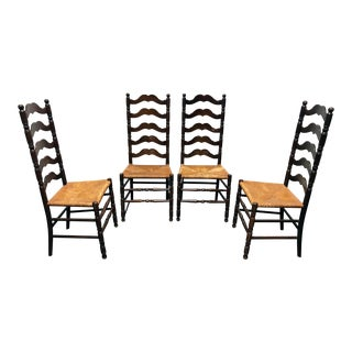 Tell City Vintage Ladder Back Dining Chairs - Set of 4