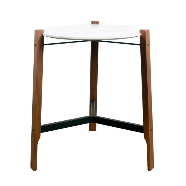 Minimalist Modern Teak and White Marble Side Table - Image 1 of 8