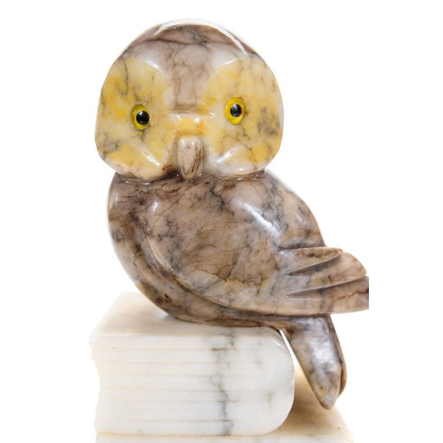 Vintage Alabaster Owl Bookends- A Pair - Image 8 of 9