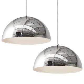 Panton Mid-Century Chrome Pendant Lamps - A Pair