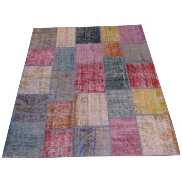 Rustic Patchwork Rug - 6′ × 8′3″ - Image 1 of 3