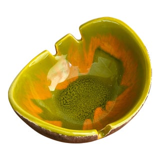 Mid-Century Modern Green Drip Glaze Ashtray