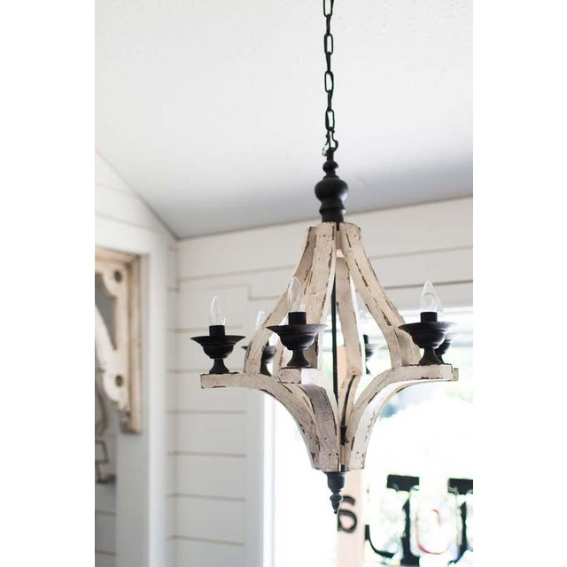 Image of Distressed White Wood Cottage 6 Arm Chandelier