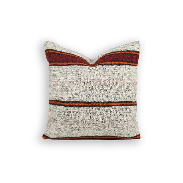 Textural Striped Over-Stuffed Kilim Pillow - Image 2 of 3