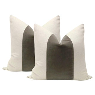 "22"" Dove Gray Velvet Panel and Linen Pillows - A Pair"