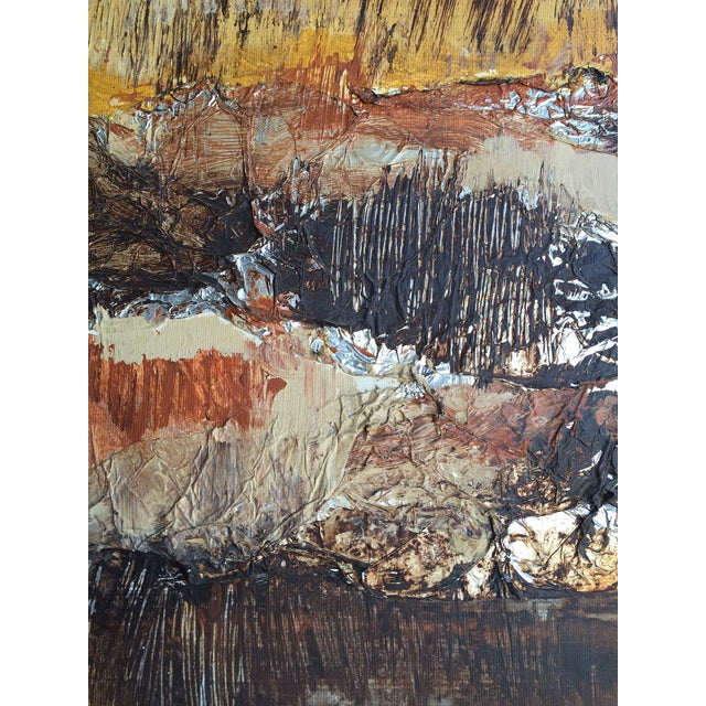 Large Vintage Abstract Woodland Canvas Art - Image 3 of 7