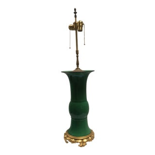 Emerald Green Chinese Porcelain Lamp With Bronze Base