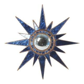 Line Vautrin Blue Glass Sunburst Mirror