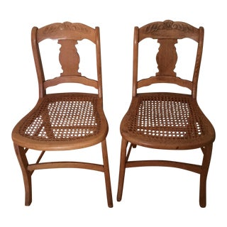 Antique Cane Side Chairs - Pair