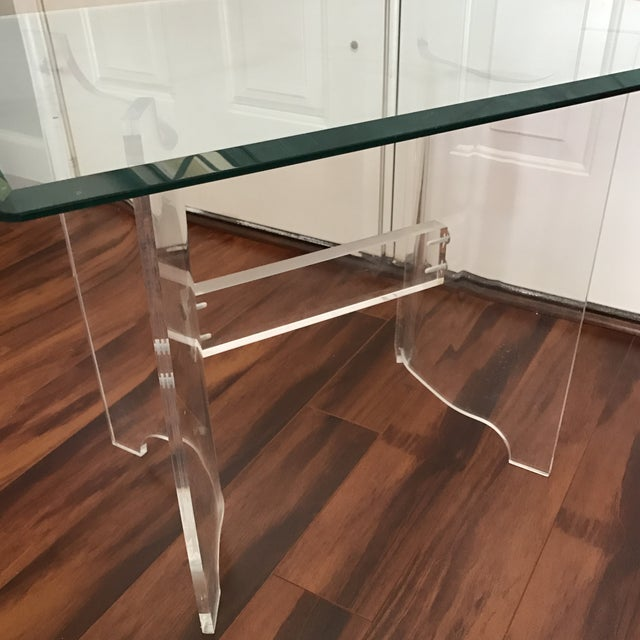 Mid-Century Lucite & Glass End Table - Image 3 of 6