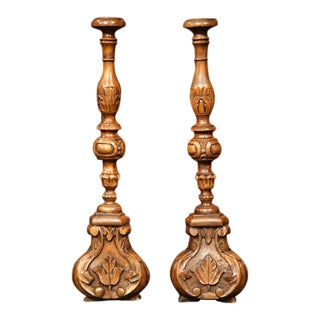 19th Century French Carved Walnut Prickets - A Pair