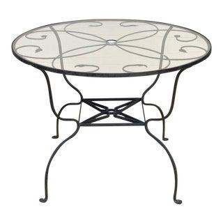 Vintage Salterini Wrought Iron Art Nouveau Deco Patio Garden Round Dining Table