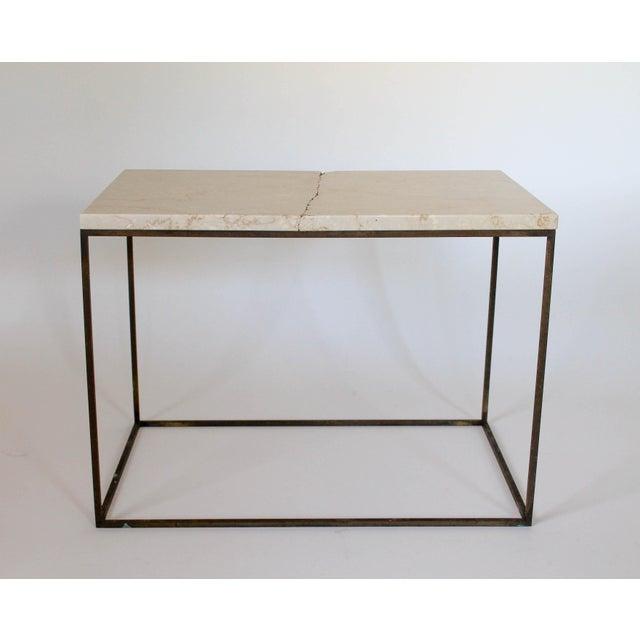 Rectangular Brass & Travertine Table - Image 4 of 11