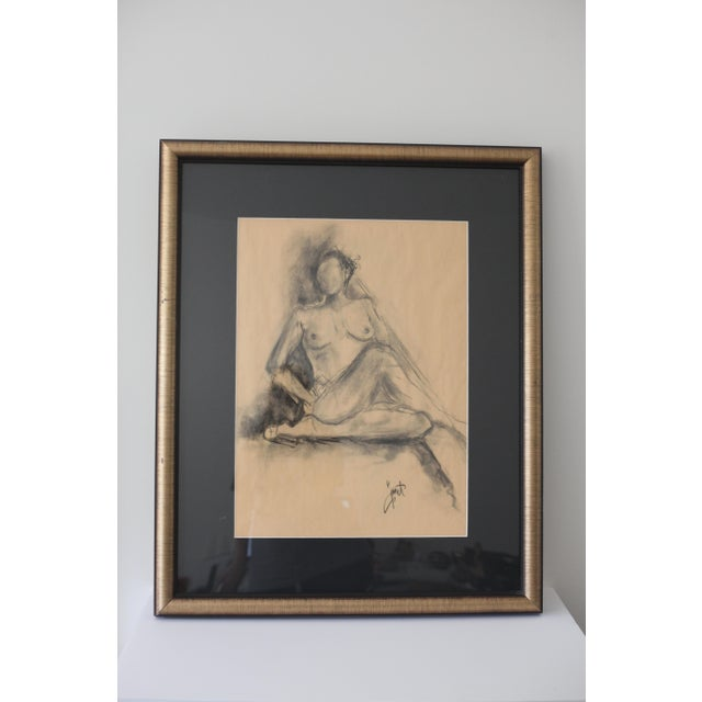 Framed Charcoal Drawing of Nude Woman - Image 2 of 5