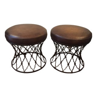 Transitional Leather & Bronze Stools - A Pair