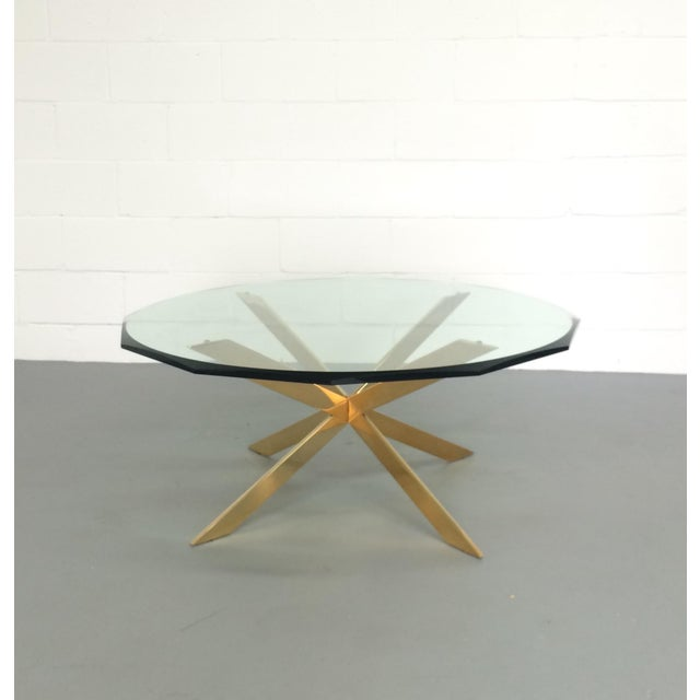 Buy Antiqued Glass Coffee Table Gun Metal Base At Fusion: Leon Rosen Double-X Base Brass Coffee Table