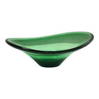 Holmegaard Green Art Glass Dish