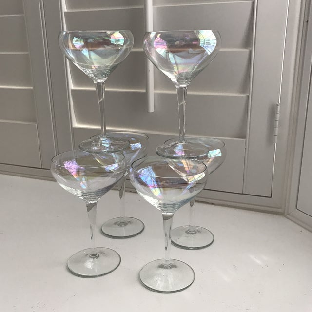 Image of Opalescent Champagne Coupes - Set of 6