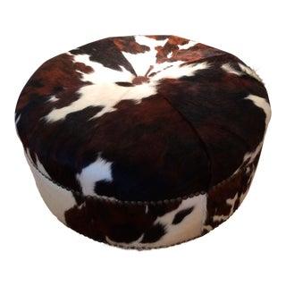 Round Brindled Cowhide Ottoman