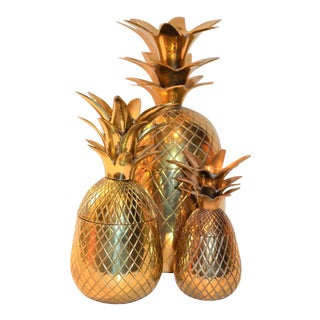 Hollywood Regency Vintage Brass Pineapple -- Set of Three
