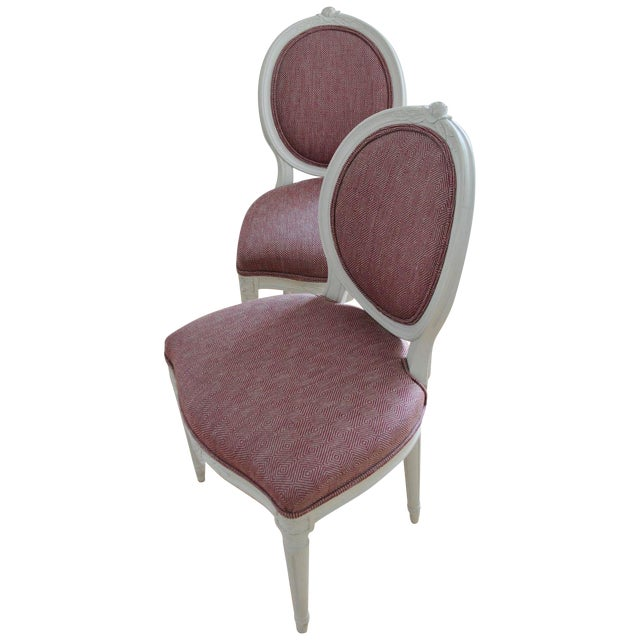 Swedish Gustavian Style Side Chairs - A Pair - Image 1 of 8