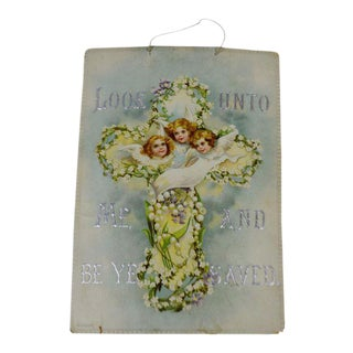 Victorian Wall Art Look Unto Me and Be Ye Saved Isaiah 45:22 Print on Board Made in Germany