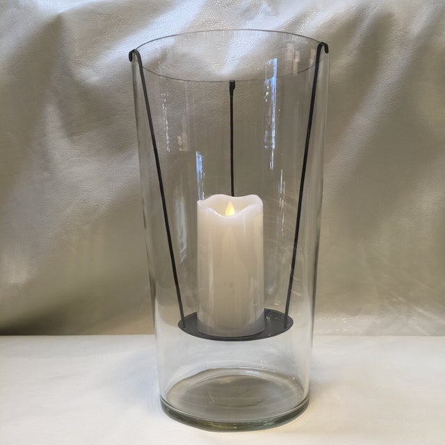 Image of Large Glass Hurricane Candle Holder