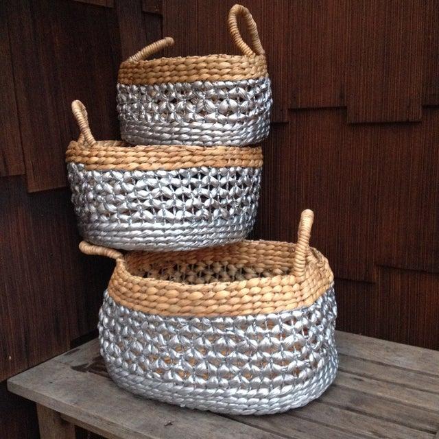 Image of Metallic & Natural Woven Straw Nesting Baskets