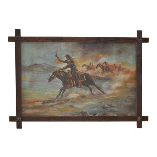 """Vintage Cowboy Painting """"The Chase is On"""" by William Steiner"""