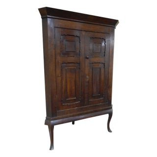 Large Early 19th C. Oak Corner Cupboard on Stand