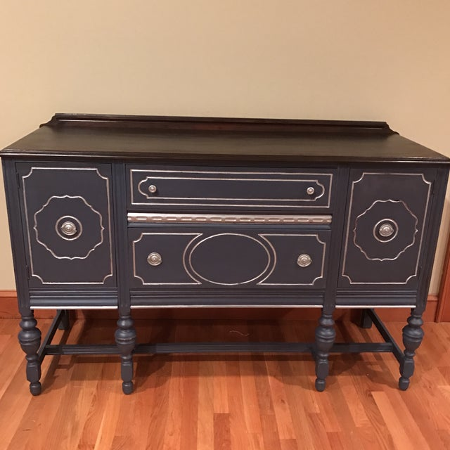 French Provincial Blue with Metallic Silver Accent Buffet / Sidebar - Image 4 of 4