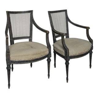 Pair of Ebonized Neoclassical Style Armchairs (#62-37)