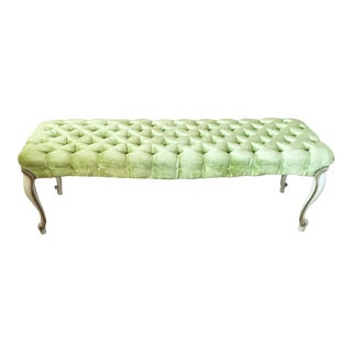 Mid-Century Hollywood Regency Velvet Bench