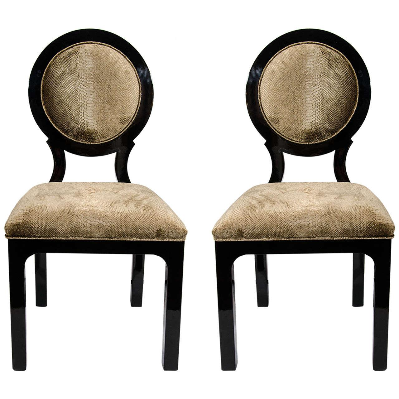 Pair Of Hollywood Regency Side Chairs In Luxurious Embossed Velvet   Image  8 Of 8