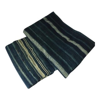 Vintage Shibori Striped Indigo African Rug Weavings - A Pair
