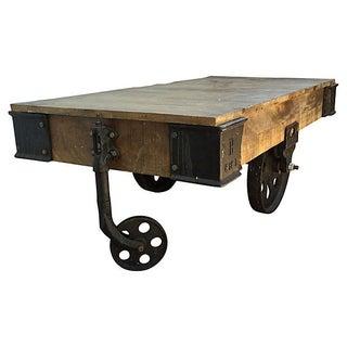 Restoration Hardware Wood Cart Table