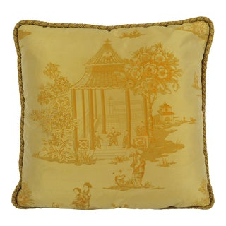 Chinese Gold Silk Down Throw Pillow