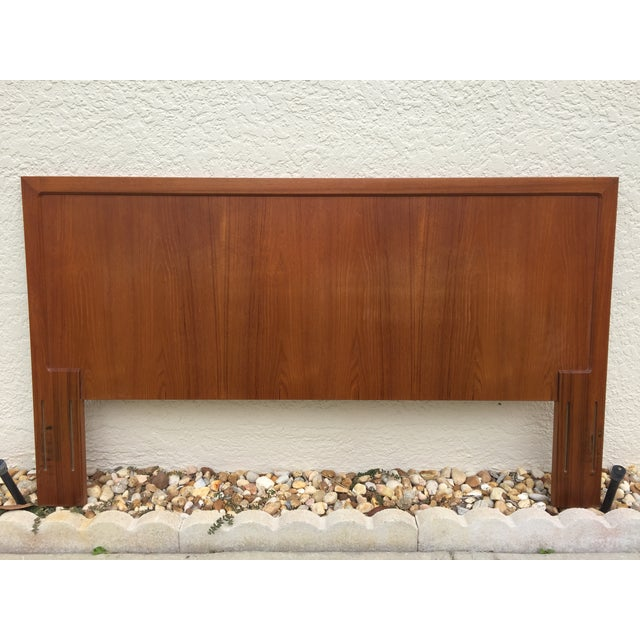 mid century modern teak queen size headboard chairish. Black Bedroom Furniture Sets. Home Design Ideas