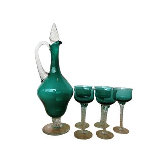 Vintage Green Decanter with Stopper & Glasses