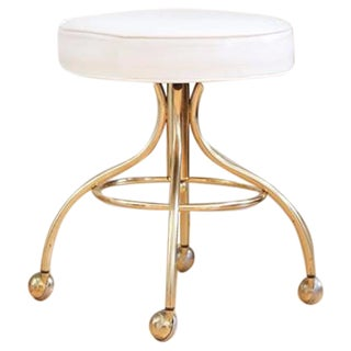 Hollywood Regency Brass Stool With Caster