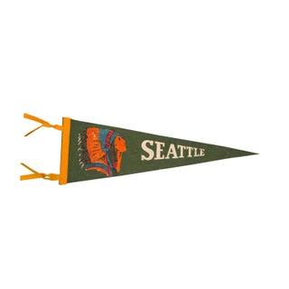 Seattle with Native American Headdress, Felt Flag